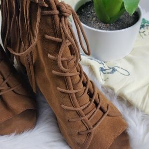 Steve madden suede fringed booties